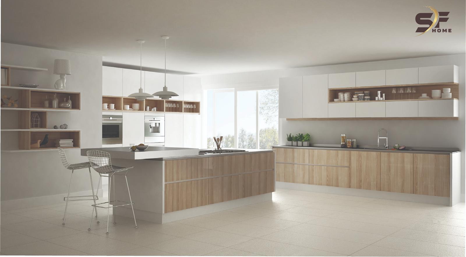 Giới thiệu kiểu cách mới tủ bếp đẹp hiện đại dòng 1