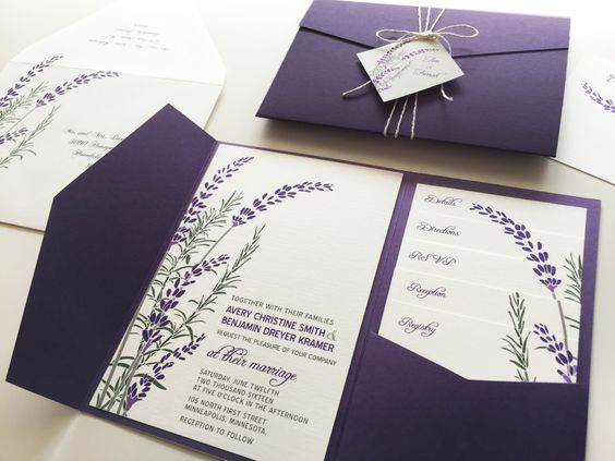 Lavender Wedding Invitation Sample Purple Pocketfold by vohandmade