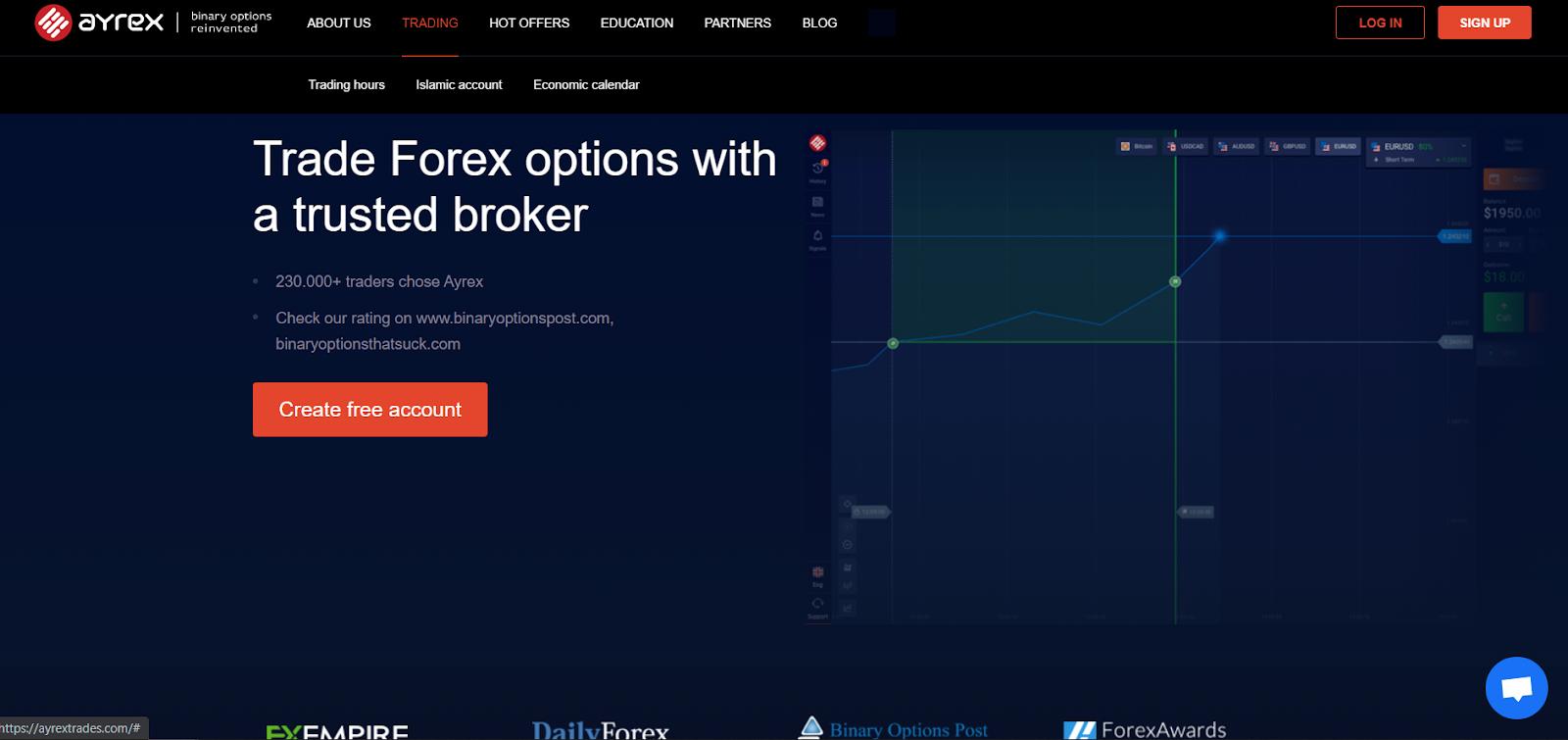 Ayrex demo account registration window