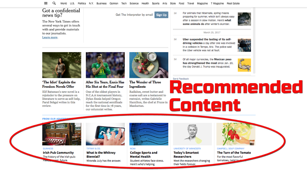 recommended contet as native ad