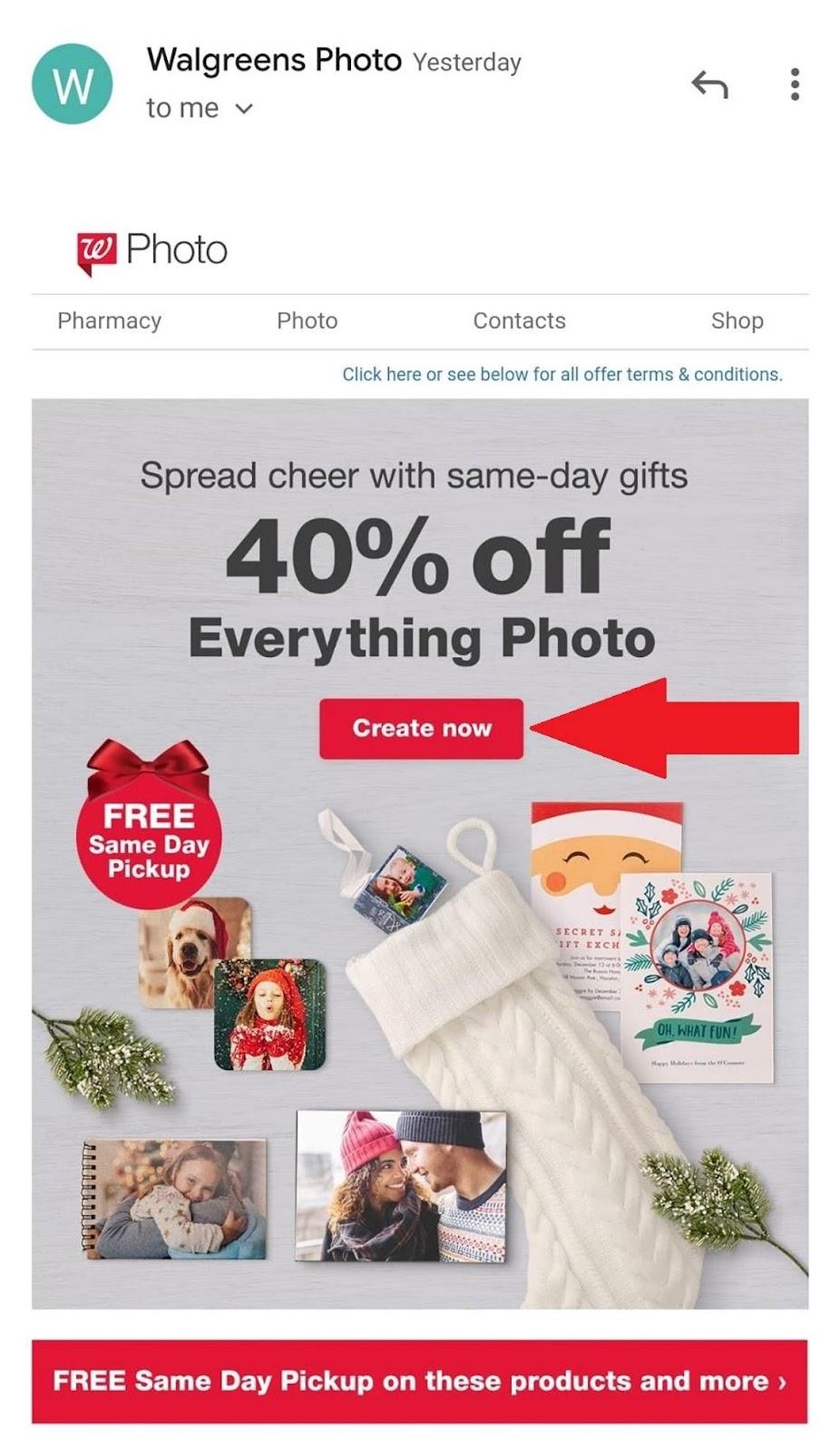 Walgreens CTA example
