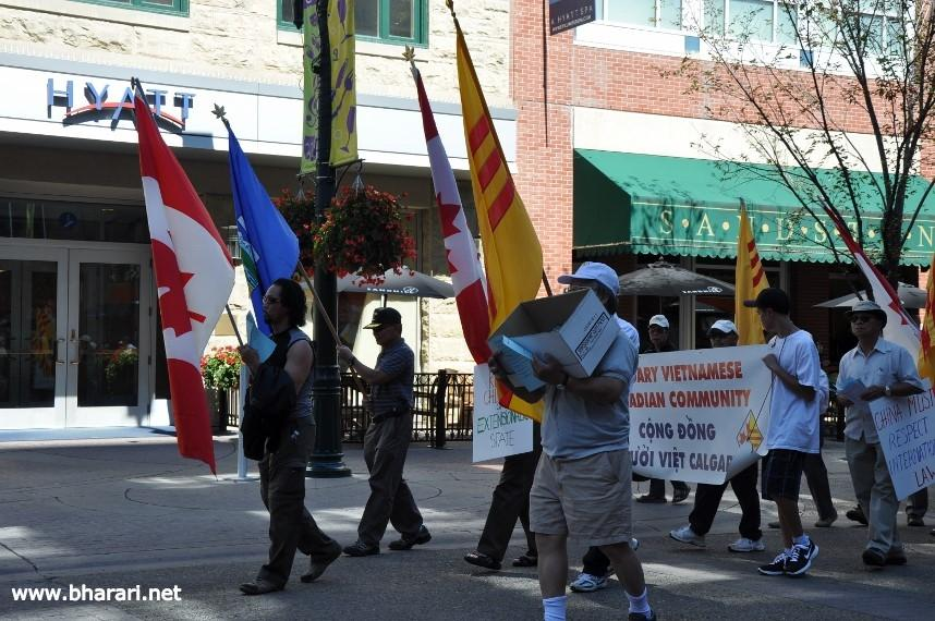 Calgary's Vietnamese-Canadian Community staging an anti-China protest