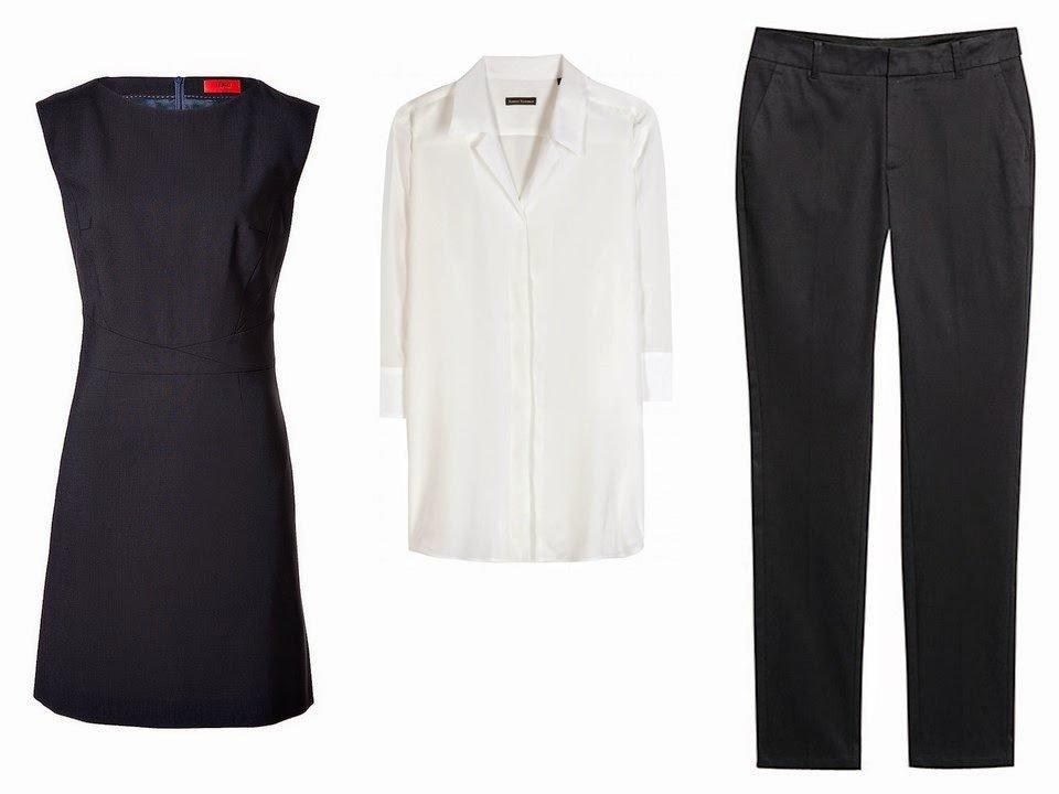 navy dress, white blouse and navy pants