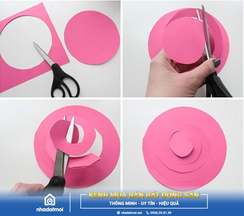 Cắt hình tròn lớn theo vòng xoắn ốc