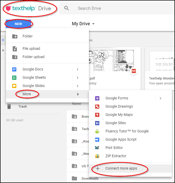 Connect more apps option