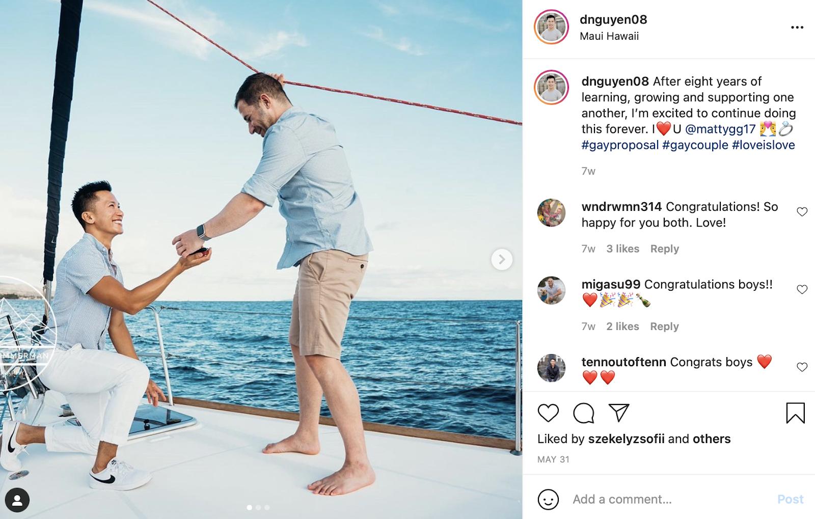 wedding proposal on a boat instagram photo