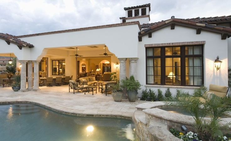 a San Diego home with a pool and covered patio