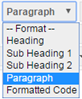 paragraph drop down showing Heading, sub heading 1, subheading 2, paragraph and formatted code options