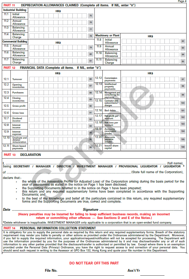 Hong Kong Profit Tax Return Page 4