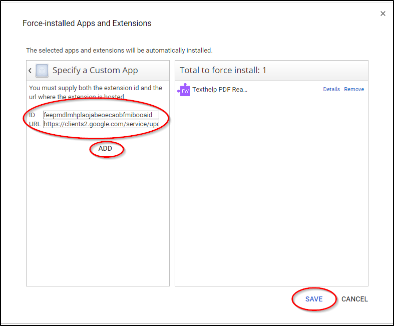 Admin Console Specify a Custom App Completed