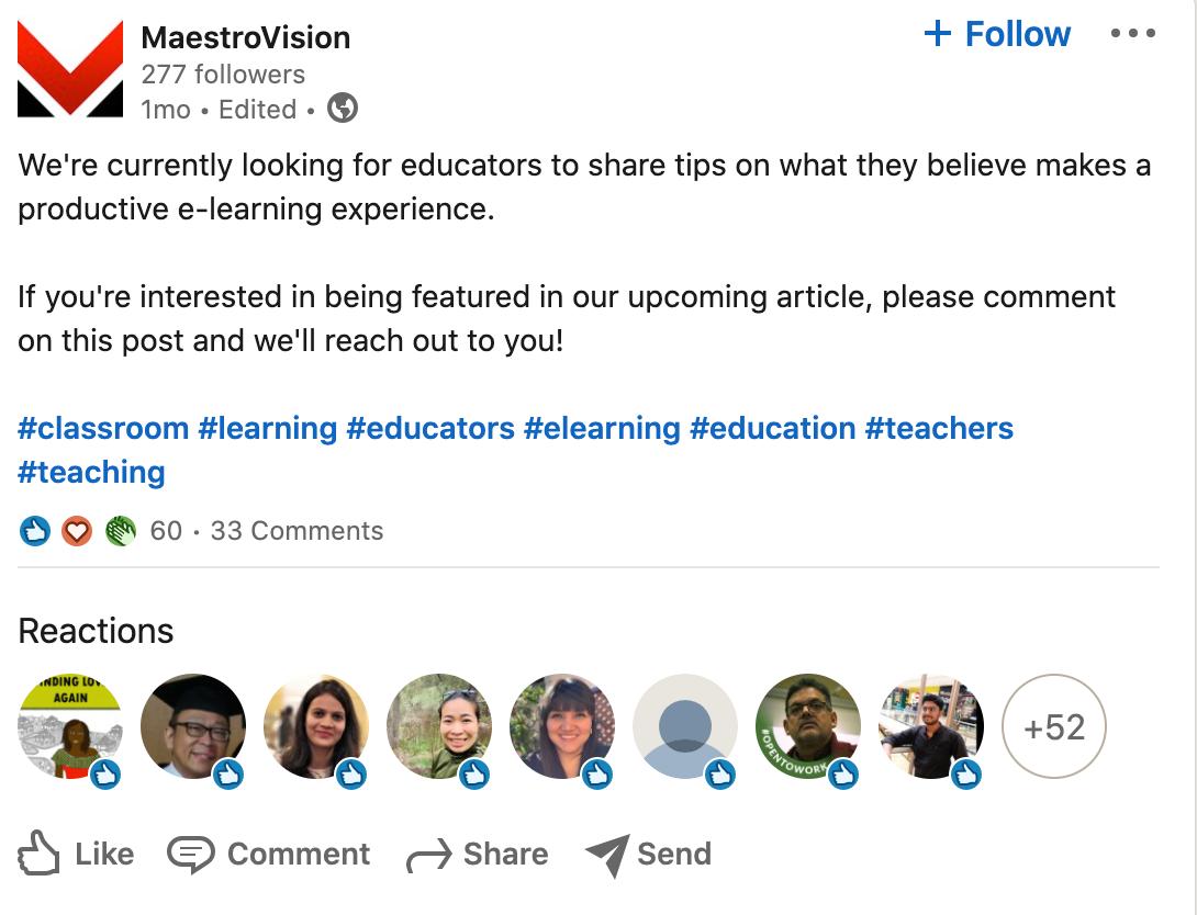 MaestroVision Linkedin post