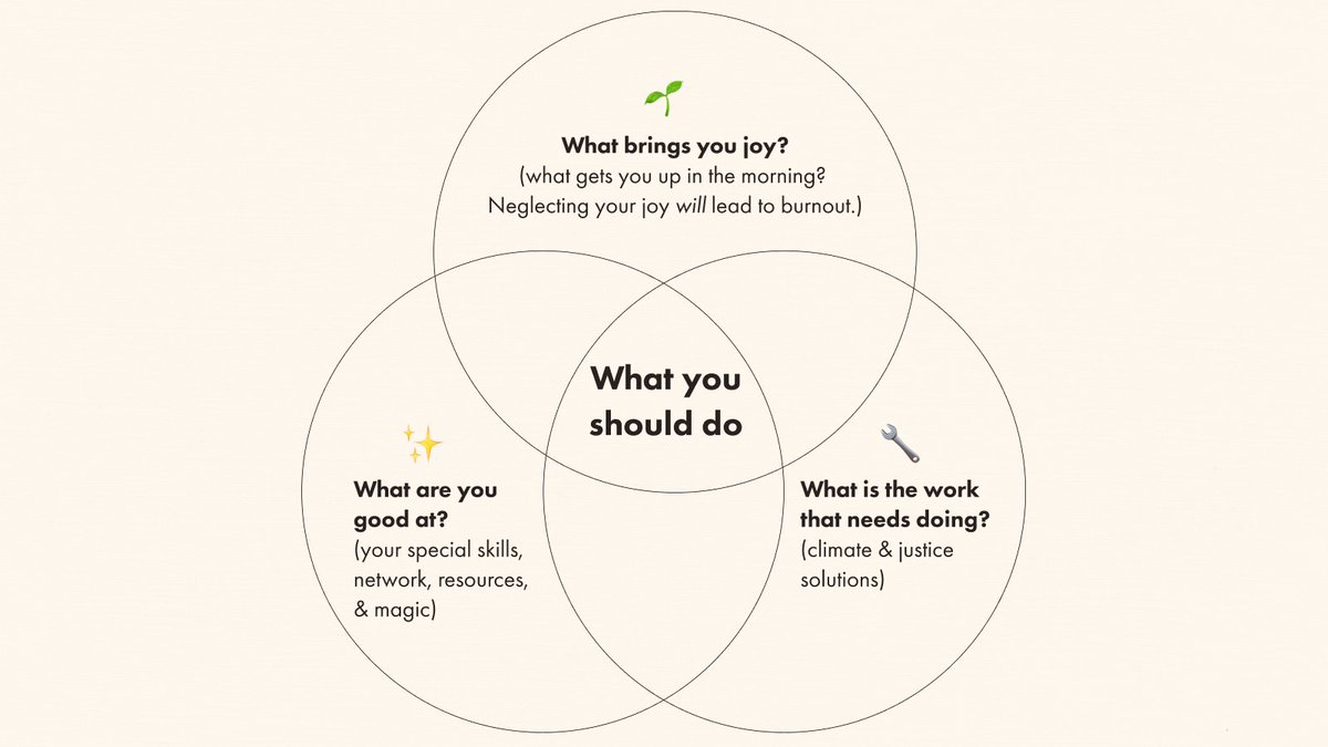 Three circles each labeled: What are you good at? What is the work that needs doing? What brings you joy?. The overlap of the three circles in the center is What you should do–Answer based on considering the intersection of your interests and skills.