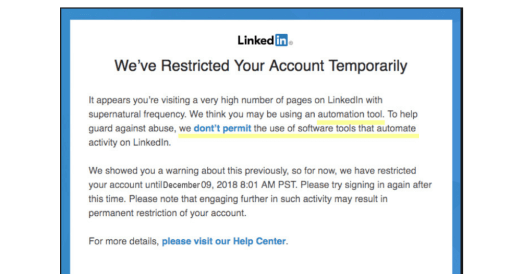 linkedin account restricted for bulk invite