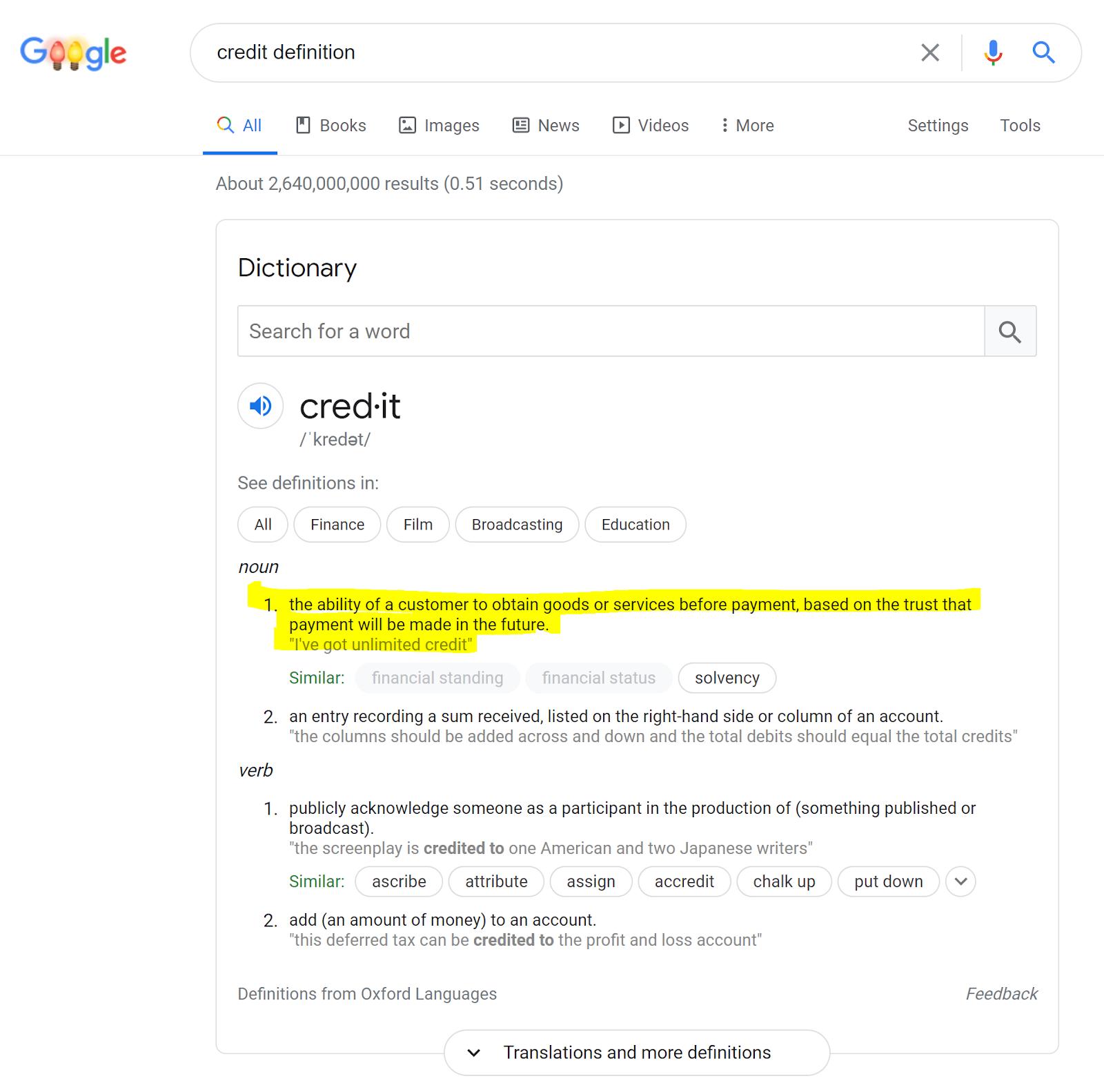 credit definition