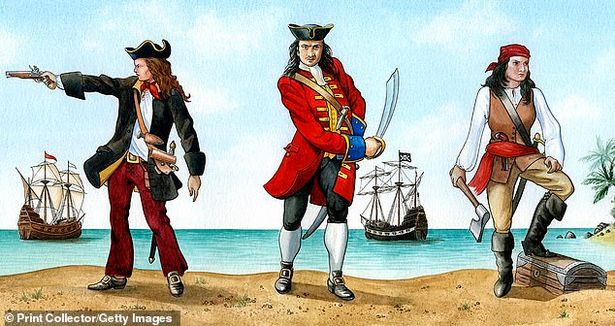 Anne Bonny, John 'Calico Jack' Rackam and Mary Read: Some historians claim the two became lesbian lovers while others suggest they formed a three-way relationship with Anne's husband, the English pirate captain Jack Rackham - more commonly known as Calico Jack