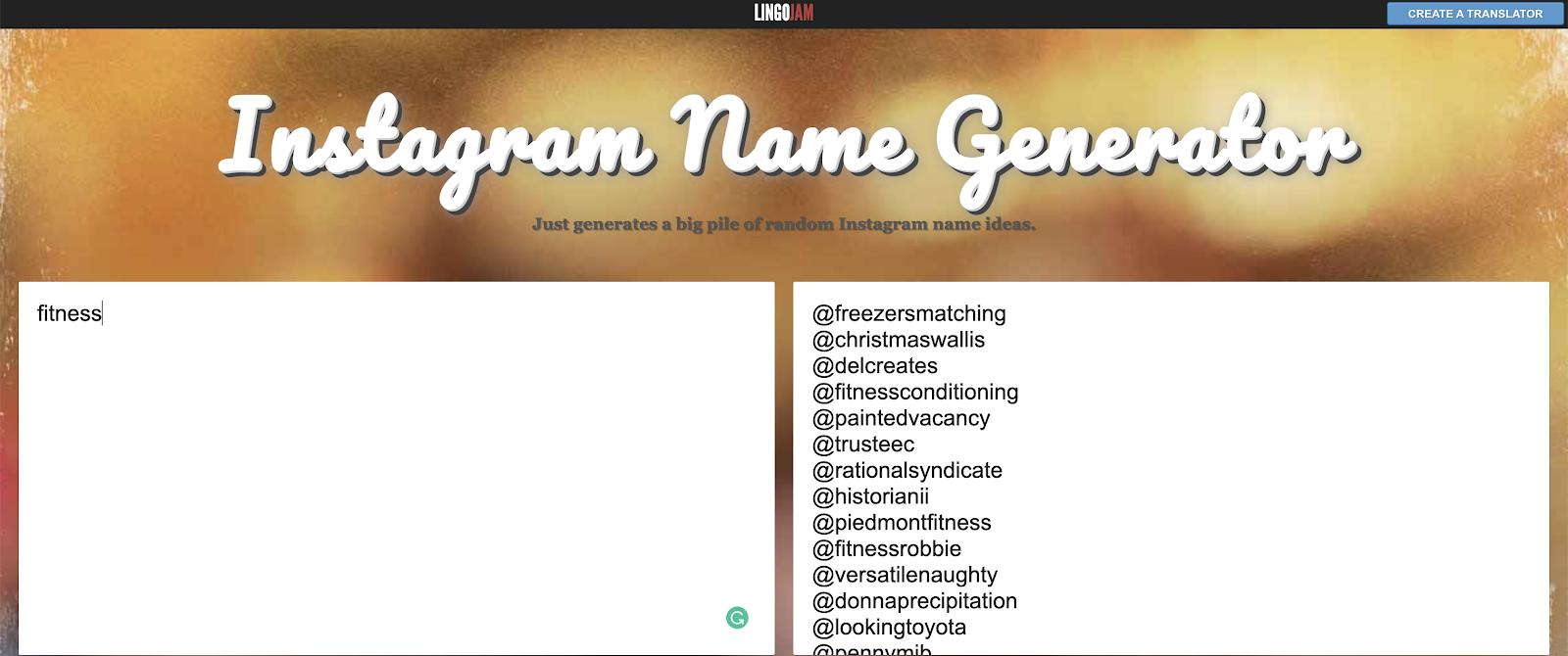 Instagram name generator - LingoJam