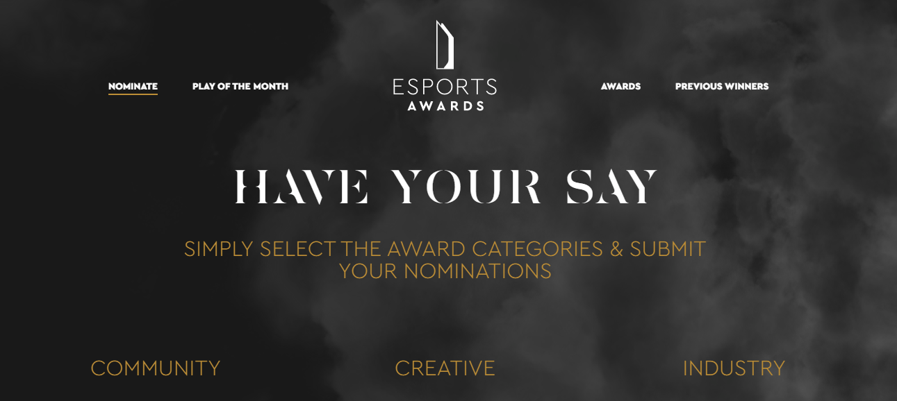 The nomination page on the official Esports Award website