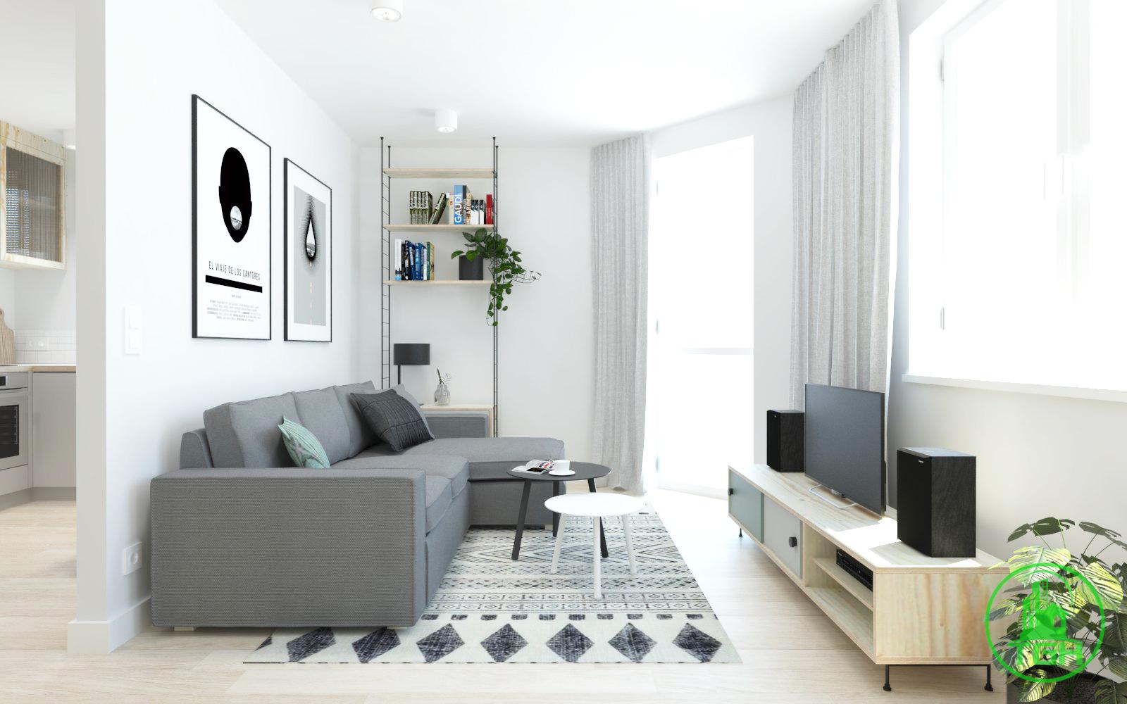 sơn tường trắng giúp căn hộ trở nên rộng rãi