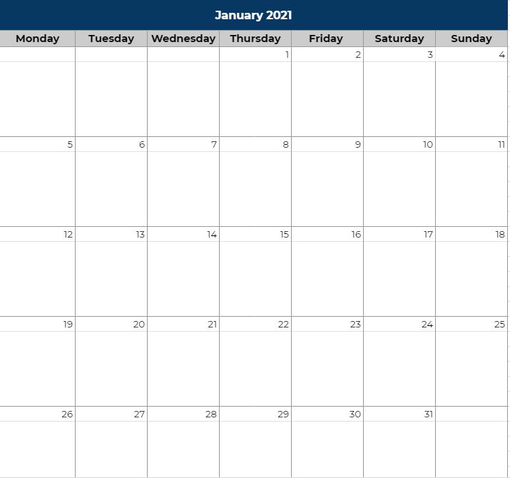 Travel itinerary calendar view spreadsheet