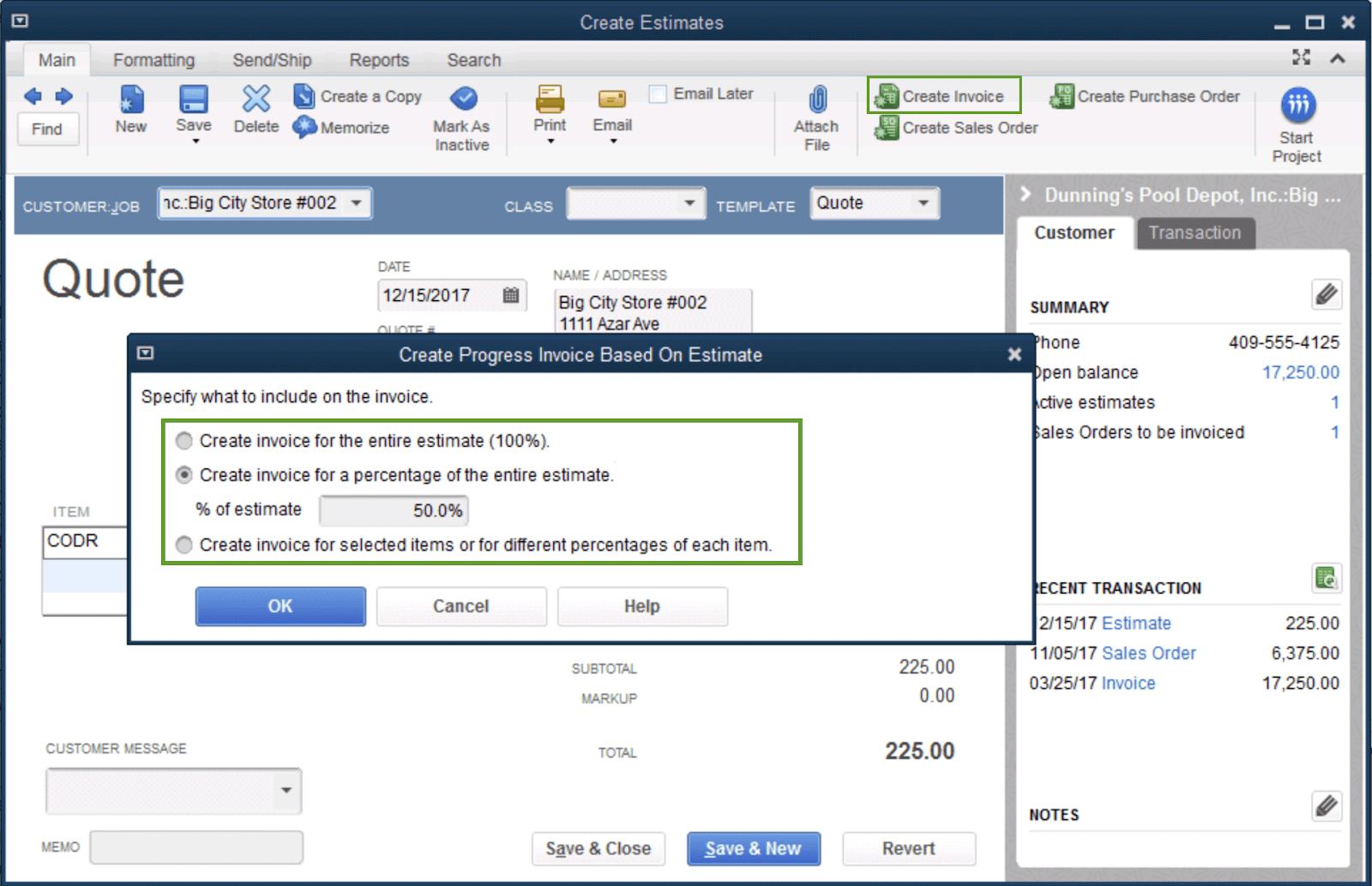 Set up and Use Progress Invoicing