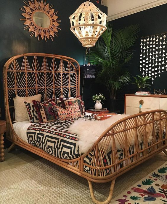 Sprinkle A Little Rusticity With A Cradle-Shaped Rattan Bed Frame