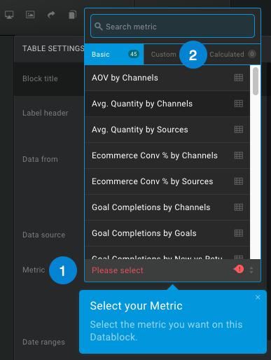 use a custom metric in databox