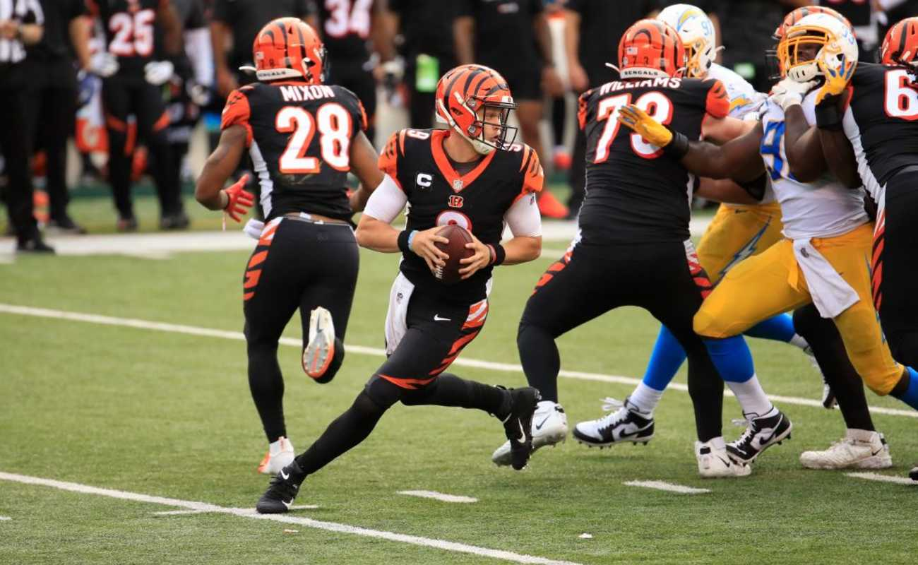 Joe Burrow #9 of the Cincinnati Bengals during a game with the Los Angeles Chargers, September 13, 2020