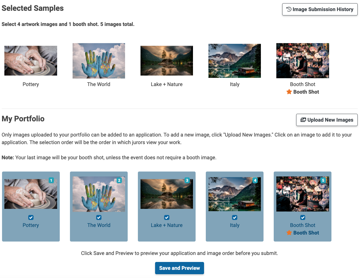 In the application, artists can select images from their portfolio to attach the application. This screenshot displays the image selection of the portfolio.