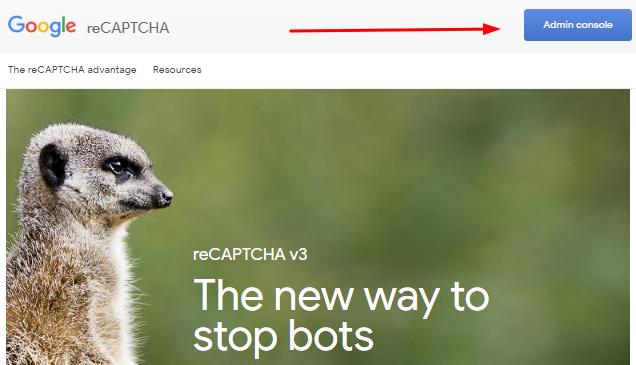 admin console do Google reCAPTCHA