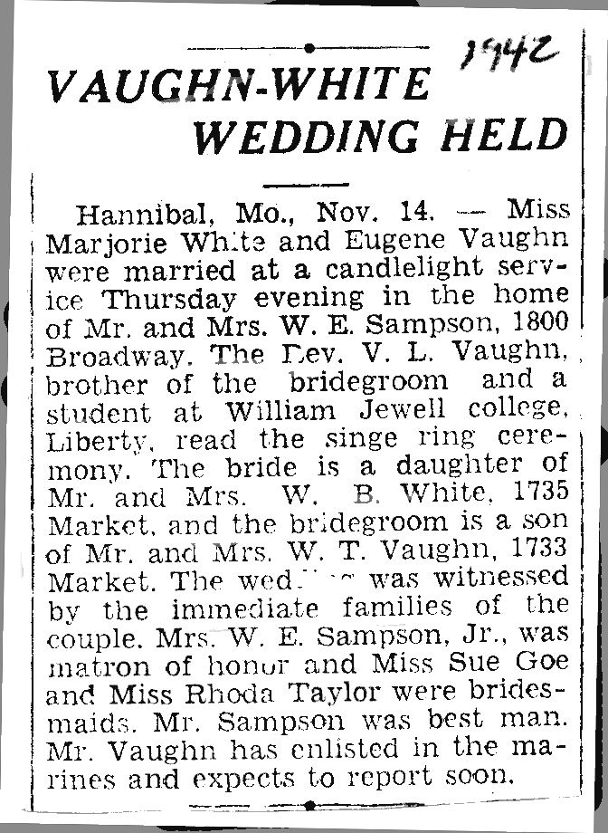 Marjorie G White Vaughn wedding article.png