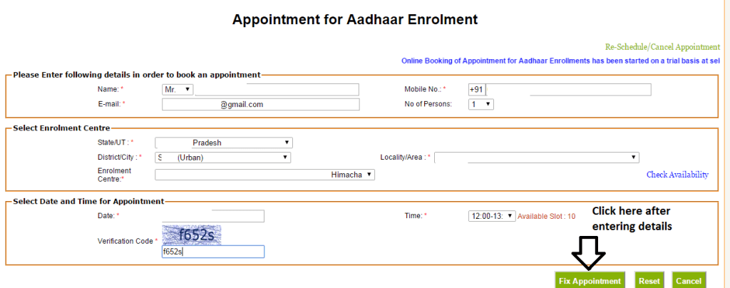 Book Appointment for Aadhar Card