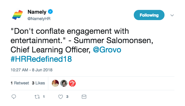Tweet from Namely mentioning a strong learning and development strategy