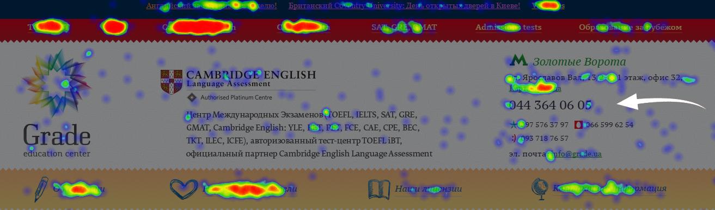 карта кликов в яндекс метрике пример