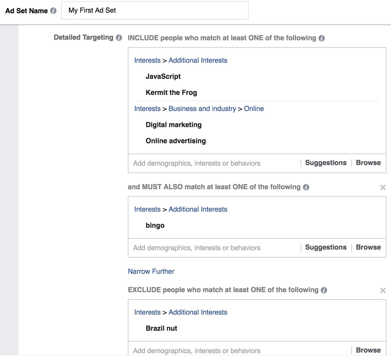Detailed Targeting - Facebook Ad Sets