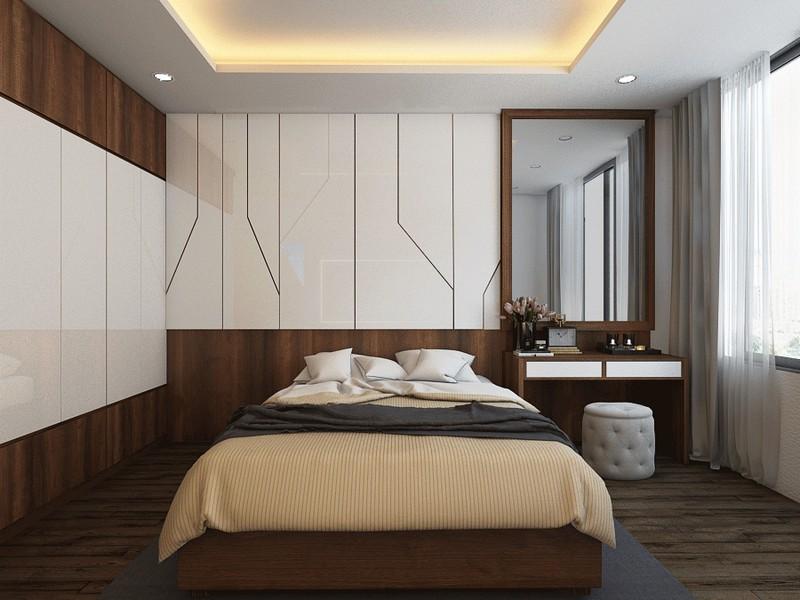 Phòng ngủ ấm chung cư áp với chất liệu gỗ chủ đạo