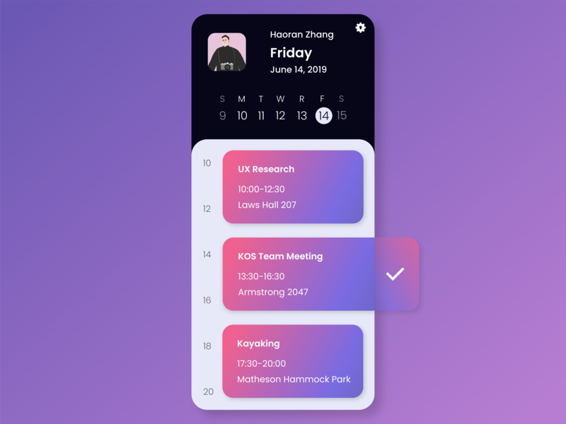 Daily UI 038 - Calendar phone to do todolist planning schedule calendar app calendar ui calendar color clean mobile ui dailyui038 gradual change mobile vector app dailyuichallange ux ui dailyui