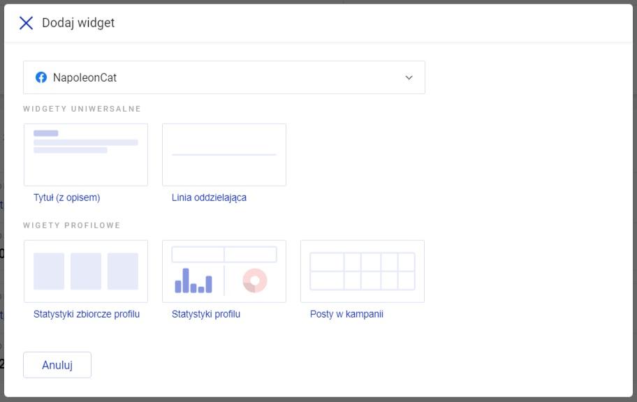 dodaj statystyki dla profili społecznościowych w Dashboardzie od NapoleonCat