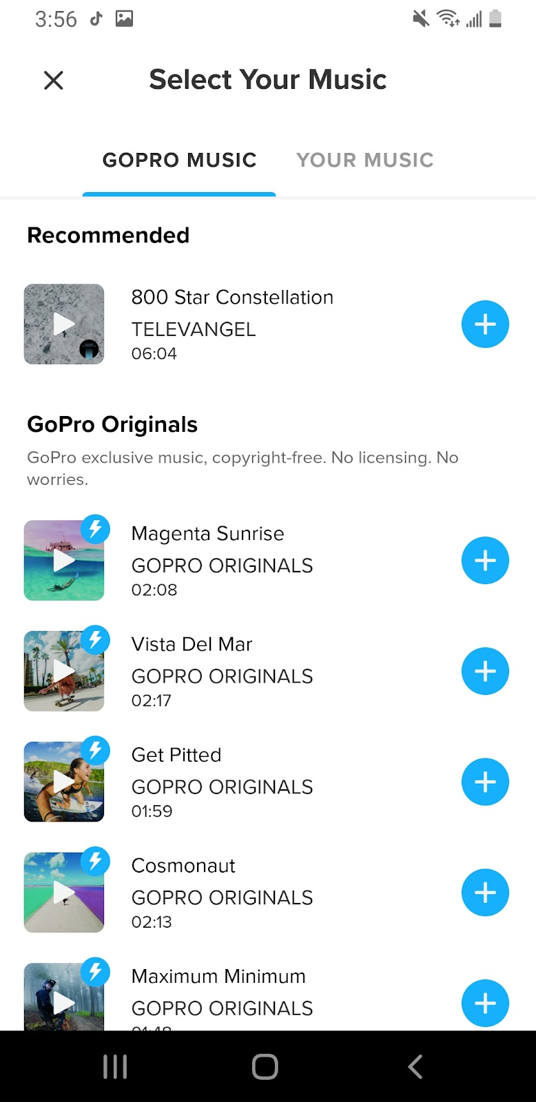 Picture of using GoPro's Quik to add music onto an Instagram post