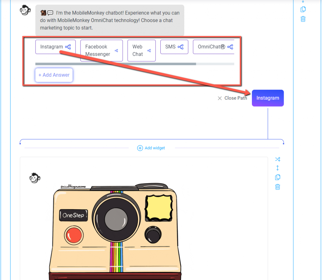 Instagram automated messages bot builder