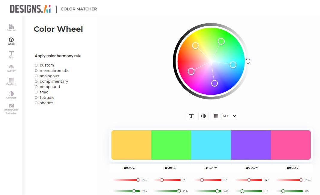 Color Matcher by Designs.ai - Genera gratuitamente palette di colori in modo automatico.