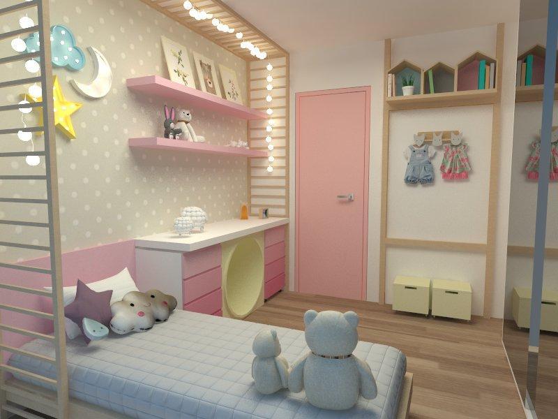 Quarto de bebe, azul e rosa com papel de parede