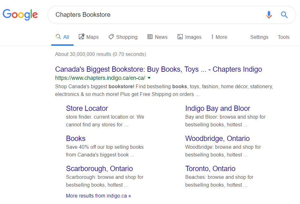 "On-page SEO: Google search for ""Chapters Bookstore"" showing a submenu on Google."