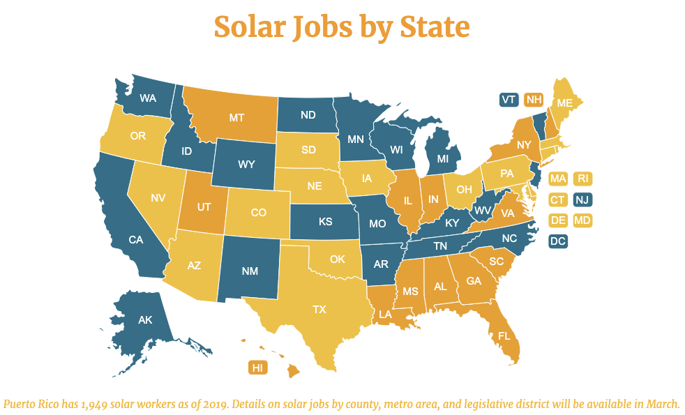 solar jobs by state map
