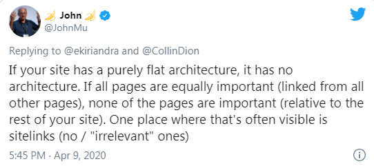 struktura strony www - John Muller - wypowiedź Google