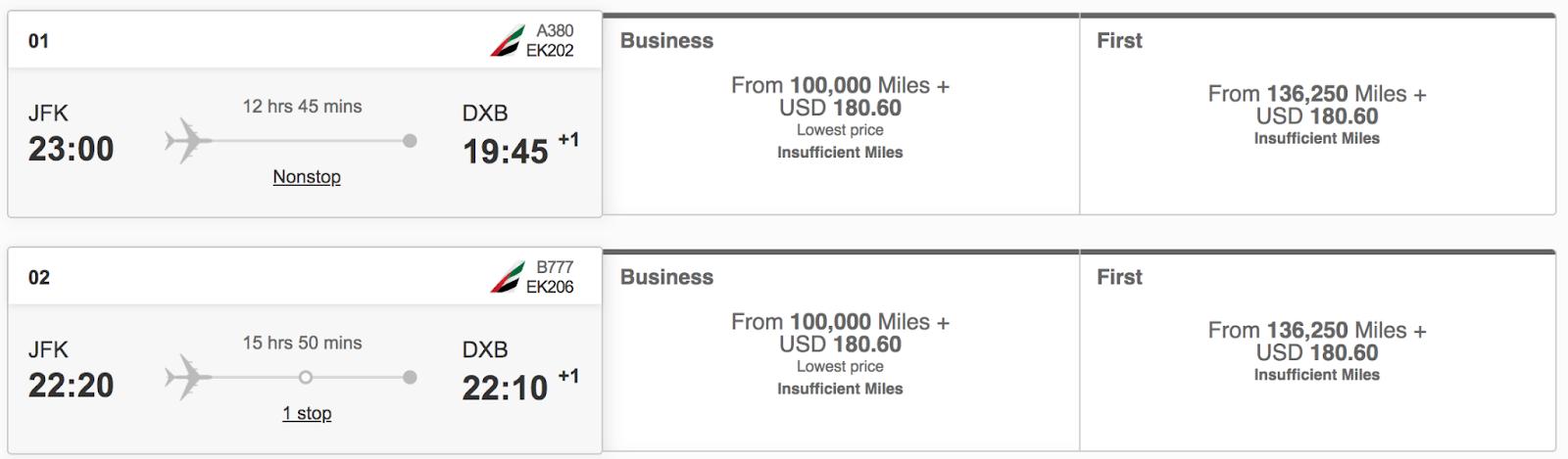 One way business class Emirates flight