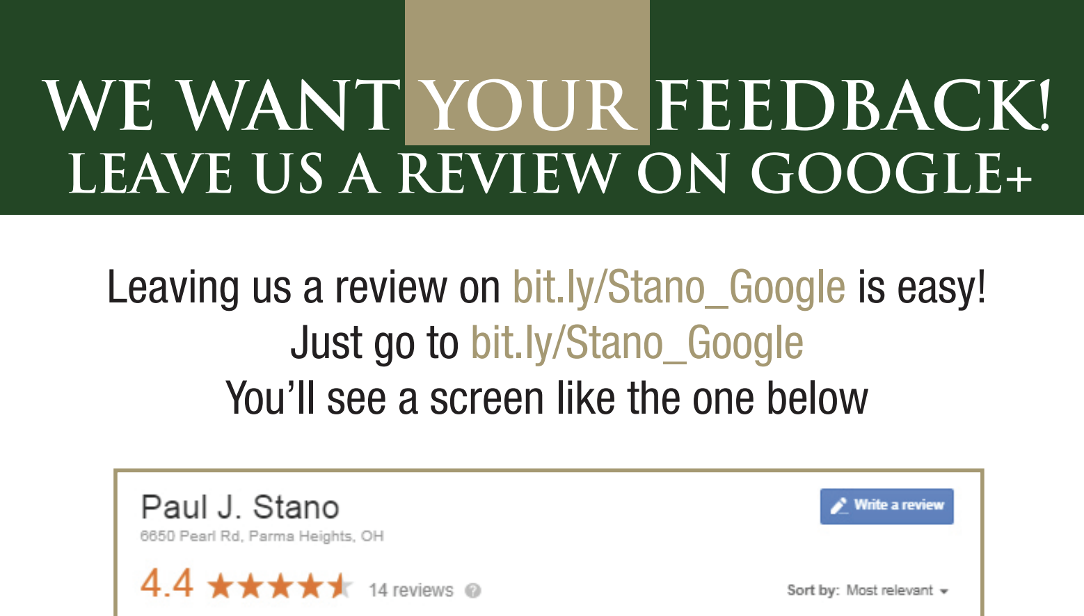 example of google review request