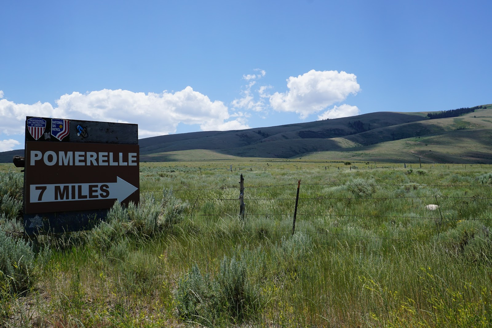 Bike climb Mt. Harrison - Pomerelle turn off sign