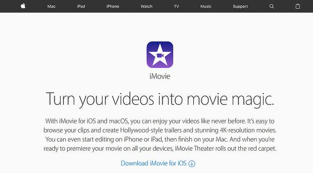 visual content creation tools - imovie