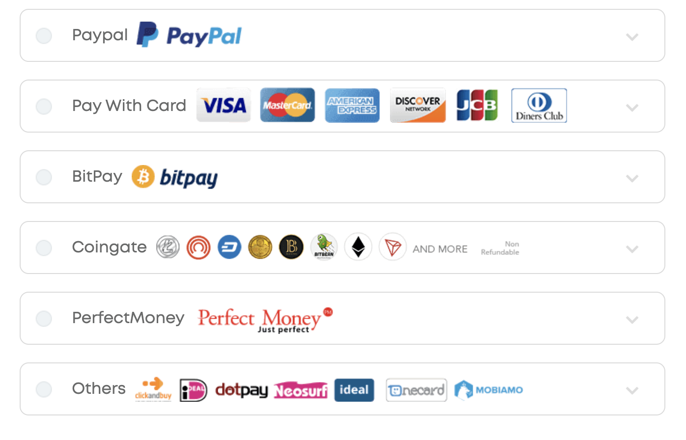Payment methods for Ivacy VPN
