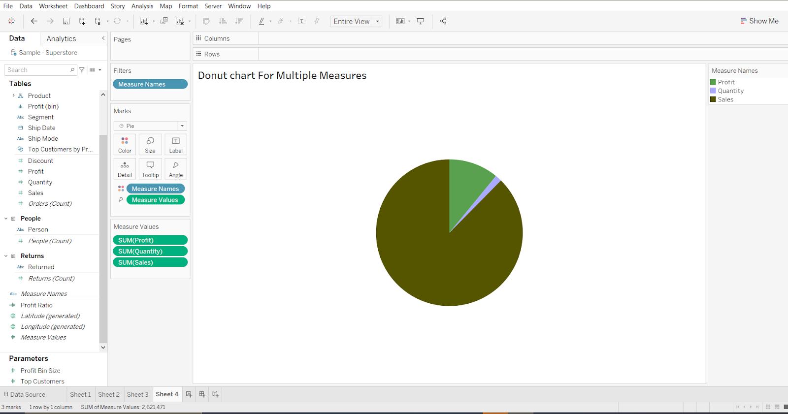 Donut chart for multiple measures